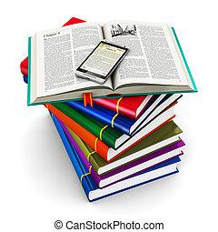 smartphone, en, stapel, van, kleur, boekjes
