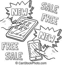 smartphone, en, tablet, detailhandel, schets