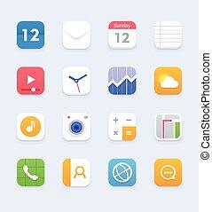 smartphone, ensemble, tablette, générique, vecteur, interface utilisateur, ou, icône