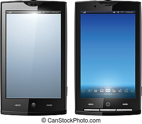 Smartphone, mobile phone isolated, realistic vector...
