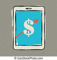 smartphone, eps10, screen., señal, vector, ganancias