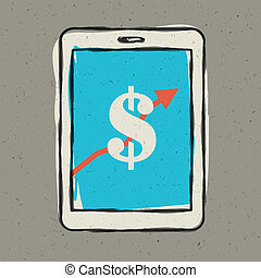 smartphone, eps10, screen., znak, wektor, zarobek