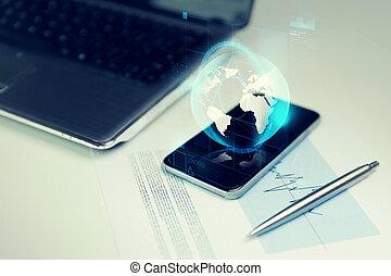 smartphone, erdball, ende, erde, hologramm