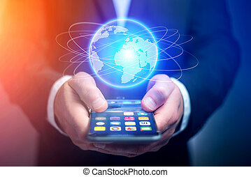 smartphone, erdball, kugelförmig, gehen, besitz, geschäftsmann, hologramm, heraus