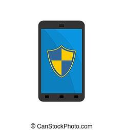 smartphone, escudo, proteção, dispositivo, protection., contra, vetorial, telefone., ilustração, confiança, viruses.