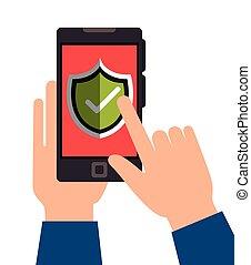 smartphone, escudo, segura, dê proteção, desenho