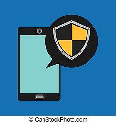 smartphone, escudo, segura, mão, padlock, proteção, ícone