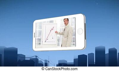 smartphone, esposizione, uno, uomo affari