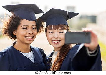 smartphone, estudiantes,  selfie, o, solteros, toma