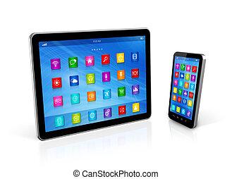 smartphone, et, tablette numérique, informatique