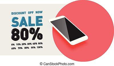 smartphone, exchangeable, promo, texto, realista, vector, ...