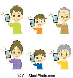 smartphone, famiglia, presa a terra