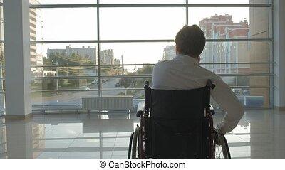 smartphone, fauteuil roulant, handicapé, fenêtre, usages, homme affaires