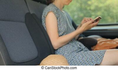 smartphone, femme voiture