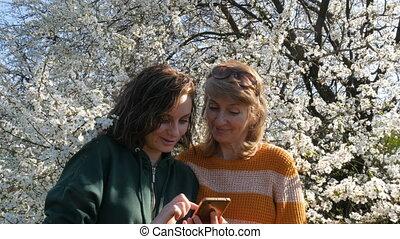 smartphone, fille, elle, regarder, heureusement, arbre, deux âges, contre, adulte, fond, mère, portrait, fleurir, sourire, quelque chose