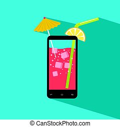 Smartphone filled with fresh juice. Icecubes, umbrella, slice of lemon, straw