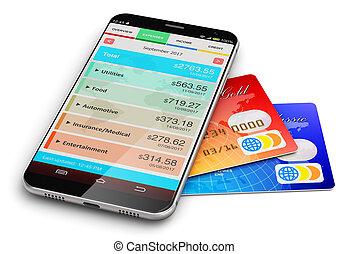 smartphone, financieel, app, krediet, directeur, kaarten, bank