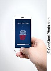 smartphone, finger, afsøge, garanti, og, beskytte, privatliv, firma, data, teknologi, ind, ambulant, telefon.