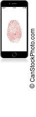 smartphone, fingerabdruck, app