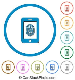 Smartphone fingerprint identification icons with shadows and...
