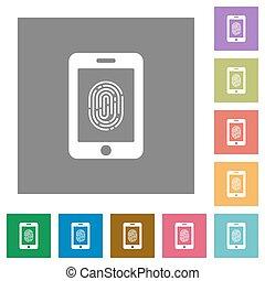 Smartphone fingerprint identification square flat icons -...