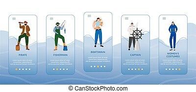smartphone, fisherman., 卡通漫画, 走, costumes., onboarding, app, ui, 运载工具, 妇女, gui, 接口, ux, 网站, 套间, 概念, 屏幕, 海, 职业, characters., 上尉, walkthrough, template., 矢量