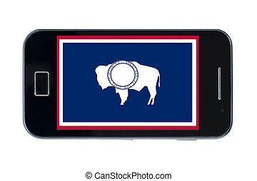 smartphone flag of american state of wyoming