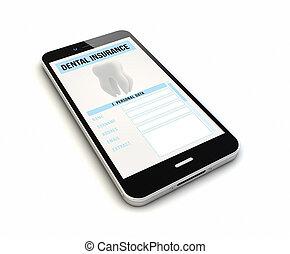 smartphone, fogászati biztosítás, render