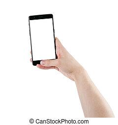 smartphone, fond, écran, isolé, possession main, blanc, homme