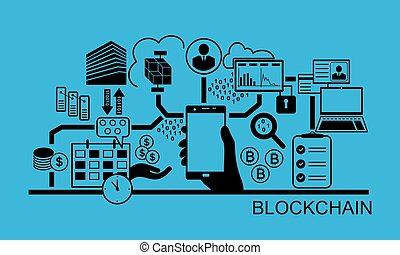 smartphone, fond, blockchain, illustration, main, vecteur, icons., tenue