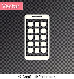 smartphone, fondo., mobile, apps, esposizione, icone, isolato, illustrazione, screen., telefono, vettore, applications., schermo bianco, trasparente, icona
