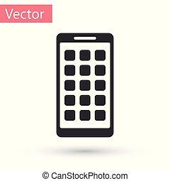 smartphone, fondo., mobile, apps, schermo, icone, isolato, illustrazione, grigio, telefono, vettore, applications., screen., bianco, esposizione, icona