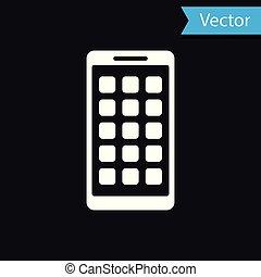 smartphone, fondo., mobile, apps, schermo, icone, isolato, illustrazione, screen., telefono, vettore, nero, applications., bianco, esposizione, icona