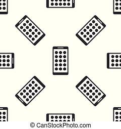 smartphone, fondo., mobile, modello, schermo, apps, isolato, illustrazione, grigio, telefono, vettore, icone, seamless, screen., applications., bianco, esposizione, icona