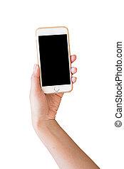 smartphone, fondo, parete, titolo portafoglio mano, bianco