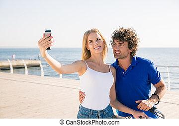 smartphone, foto, junte ao ar livre, fazer, selfie