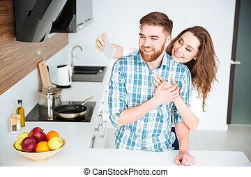 smartphone, foto, par, fazer, selfie, cozinha