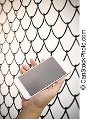 smartphone, gabbia, fondo, mano