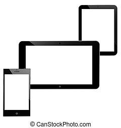smartphone, gadgets:, technologie, tablettes, noir