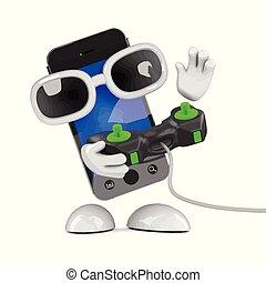 smartphone, gamer, 3d