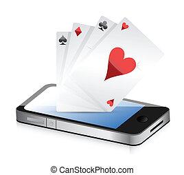 smartphone, geluksspelletjes, -, pook, aces.