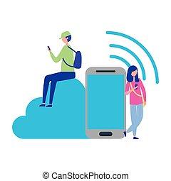 smartphone, gens, calculer, connexion, utilisation, nuage