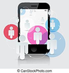 smartphone, gens, isolé, illustration, vecteur, fond, blanc