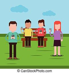 smartphone, gente, pareja, sentado, parque, dispositivos, utilizar