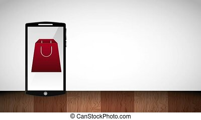 smartphone gift box and shopping bag on screen online