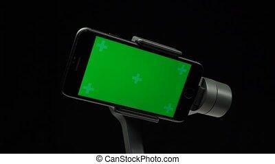 smartphone, gimbal, ekran, rotating., zielony, stabilizator,...