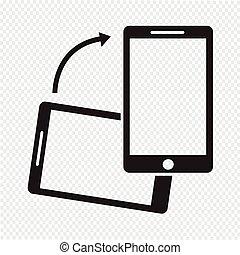 smartphone, gire, ícone