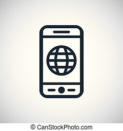 smartphone globe icon for web and UI
