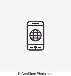 smartphone globe icon