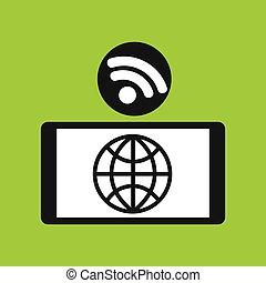 smartphone globe internet wifi icon